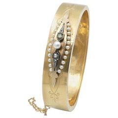 Victorian 18 Carat Rose/Yellow Gold Diamond and Pearl Hinged Bangle