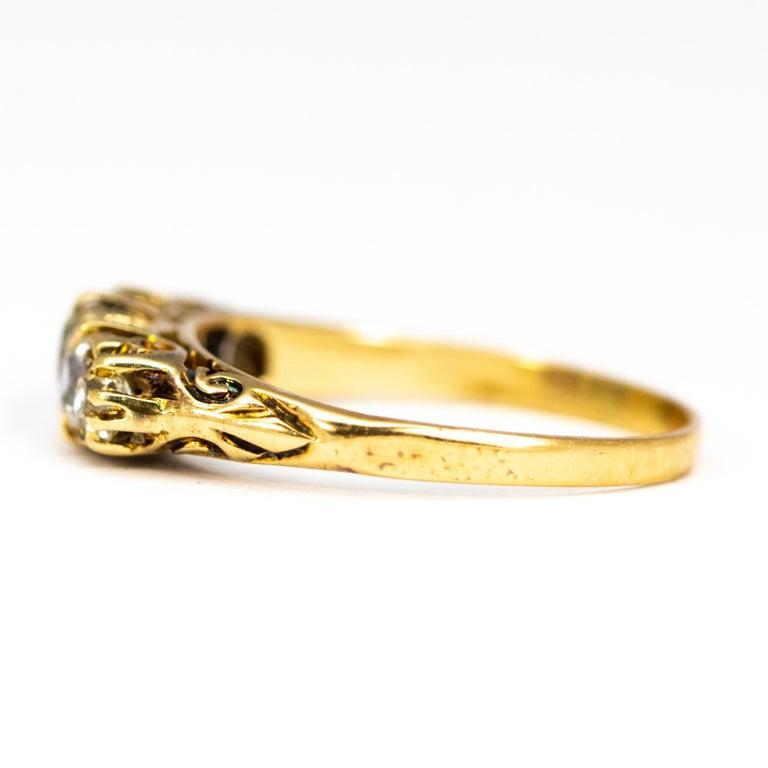 Old European Cut Victorian 18 Carat Yellow Gold Five-Stone 1 Carat Diamond Ring For Sale