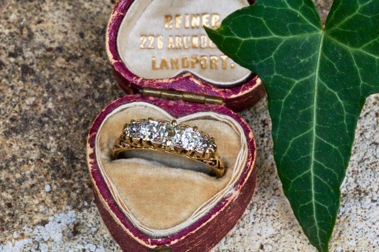 Women's Victorian 18 Carat Yellow Gold Five-Stone 1 Carat Diamond Ring For Sale