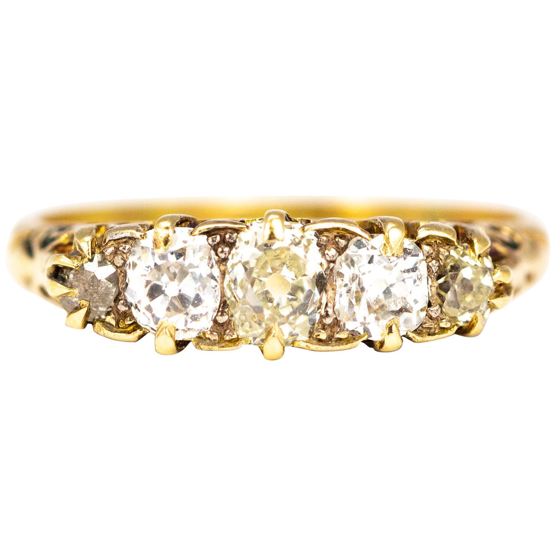 Victorian 18 Carat Yellow Gold Five-Stone 1 Carat Diamond Ring