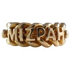 Victorian 18 Carat Yellow Gold Mizpah Ring, Birmingham, 1896