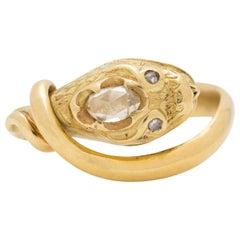 Victorian 18 Karat and 0.70 Carat Rose Cut Diamond Rare Snake Ring, circa 1850
