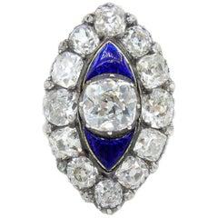 Victorian 18 Karat and 6 Caret Old Mine Cut Diamond Navette Ring
