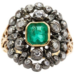 Victorian 18 Karat and Silver Natural Emerald and Diamond Ring