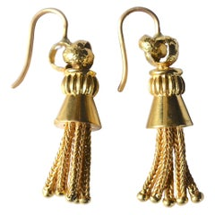 Victorian 18 Karat Braided Tassel Drop Earrings, circa 1880