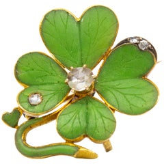 Victorian 18 Karat Diamond and Enamel Pendant