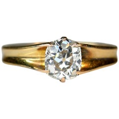 Victorian 18 Karat Gold and Diamond Solitaire Ring