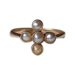 Victorian 18 Karat Gold and Pearl Ring