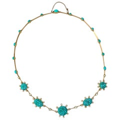 Victorian 18 Karat Gold and Persian Turquoise and Old European Diamond Necklace