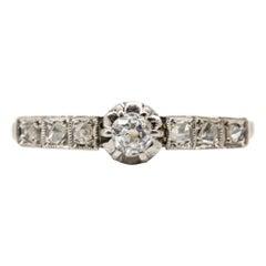 Victorian 18 Karat Gold and Platinum Diamond Ring