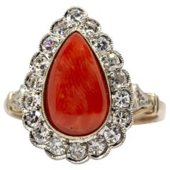 Victorian 18 Karat Gold and Platinum Diamonds and Coral Ring