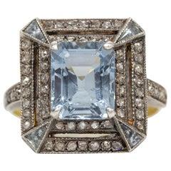 Victorian 18 Karat Gold and Silver Aquamarine and Diamond Ring
