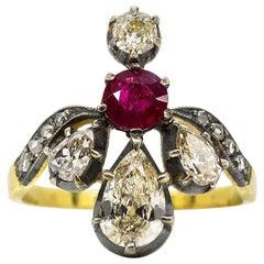 Viktorianischer Ring aus 18 Karat Gold und Silber mit Diamanten und Rubin
