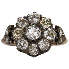 Victorian 18 Karat Gold and Silver Old Mine Cut Diamonds Ring