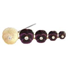 Victorian 18 Karat Gold Diamond Pansy Flower Enamel Pin Brooch, 1890