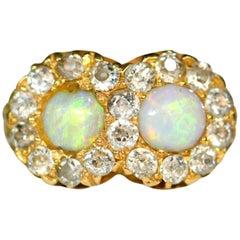 Victorian 18 Karat Gold Double Opal Ring