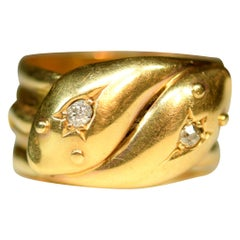 Victorian 18 Karat Gold Entwined Double Snake Ring with Diamond Set Eyes