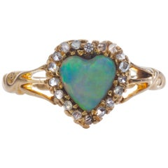 Victorian 18 Karat Gold Ladies Ring with Hear Shaped Opal and Diamonds, 1865