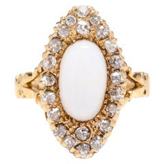 Victorian 18 Karat Gold Opal and Diamond Navette Ring