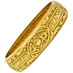 Victorian 18 Karat Gold Rose and Geranium Floral Bangle Bracelet