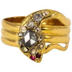 Victorian 18 Karat Gold Rose Cut Diamond and Ruby Snake Ring