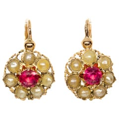Victorian 18 Karat Gold Ruby and Pearl Earrings