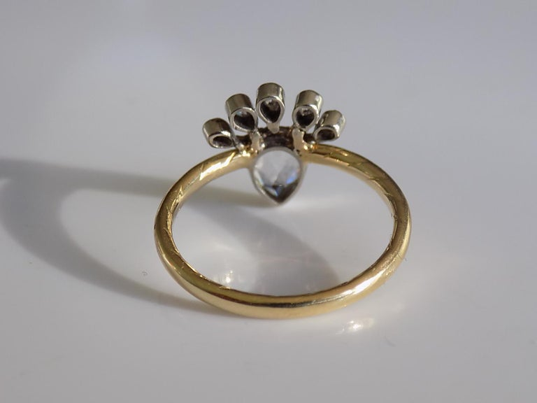 Victorian 18 Karat Gold Silver Diamond Crowned Heart Love Ring In Good Condition For Sale In Boston, Lincolnshire