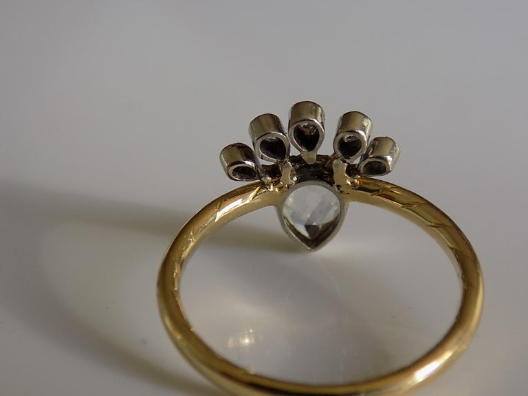 Women's Victorian 18 Karat Gold Silver Diamond Crowned Heart Love Ring For Sale