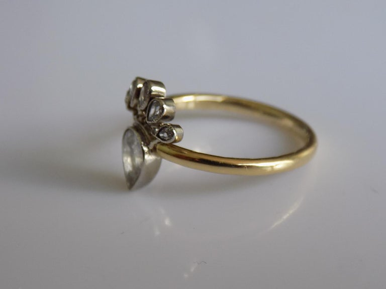 Victorian 18 Karat Gold Silver Diamond Crowned Heart Love Ring For Sale 1