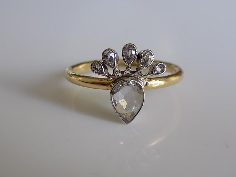 Victorian 18 Karat Gold Silver Diamond Crowned Heart Love Ring For Sale 2