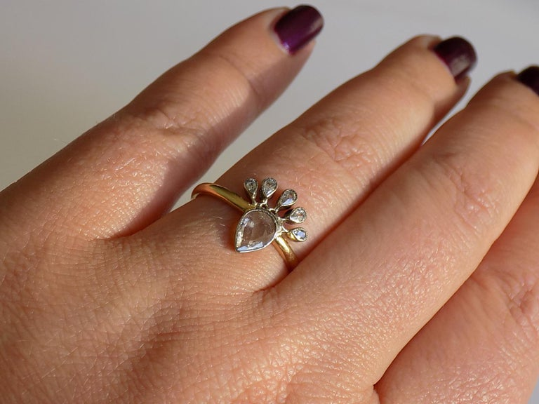 Victorian 18 Karat Gold Silver Diamond Crowned Heart Love Ring For Sale 3