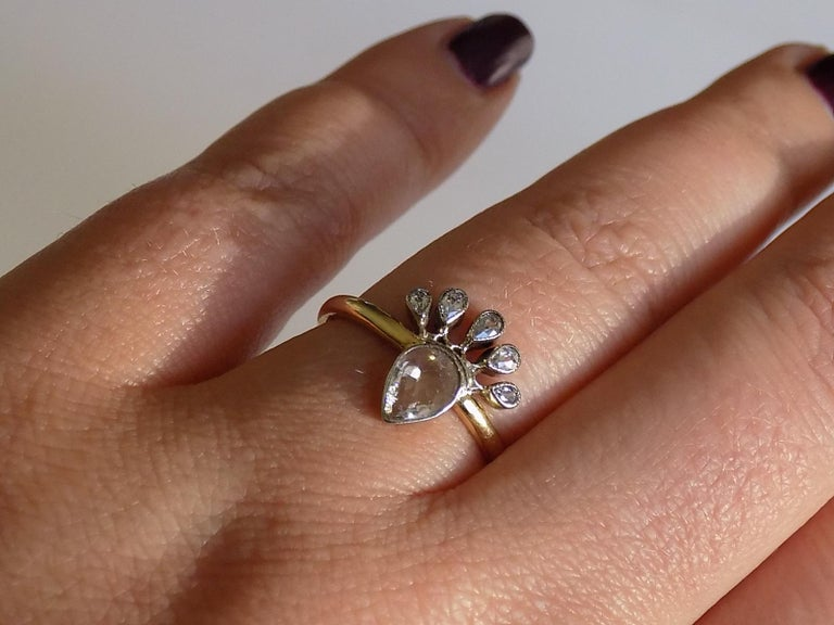 Victorian 18 Karat Gold Silver Diamond Crowned Heart Love Ring For Sale 4