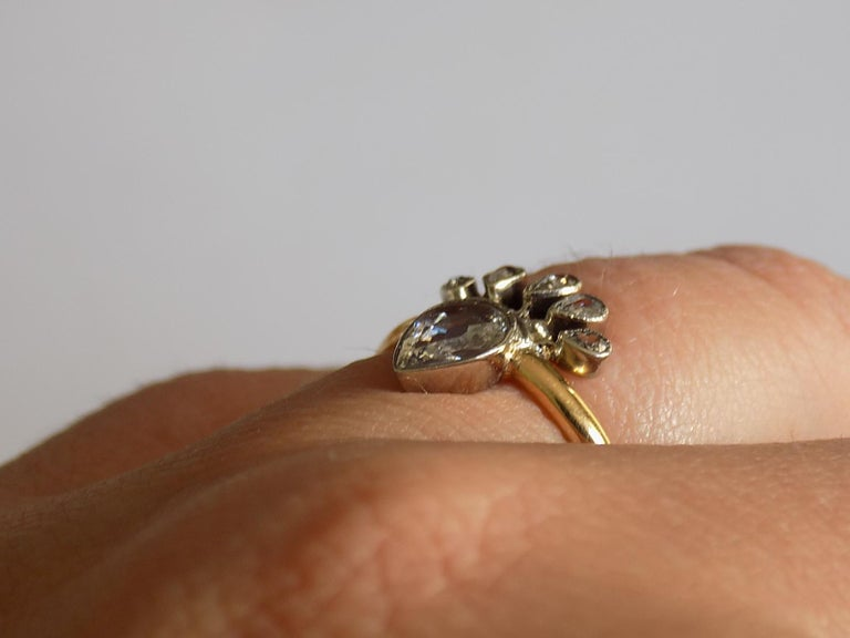 Victorian 18 Karat Gold Silver Diamond Crowned Heart Love Ring For Sale 5