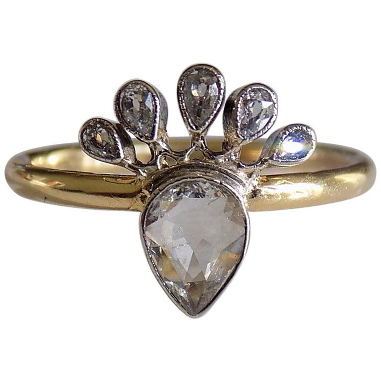 Victorian 18 Karat Gold Silver Diamond Crowned Heart Love Ring For Sale