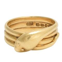 Victorian 18 Karat Gold Snake Ring
