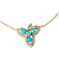 Victorian 18 Karat Gold Turquoise and Diamond Leaf Pendant