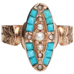 Victorian 18 Karat Gold Turquoise and Seed Pearl Navette Ring, circa 1890s
