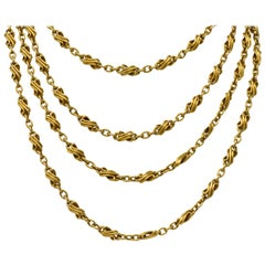 Victorian 18 Karat Gold Twisted Link Long Chain Necklace