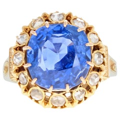 Victorian 18 Karat Gold Untreated 10.73 Carat Burma Sapphire and Diamond Ring