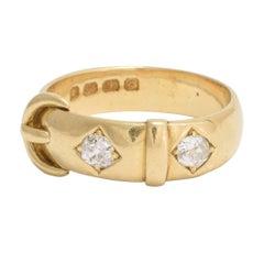 Victorian 18 Karat Gold White Diamond Buckle Ring