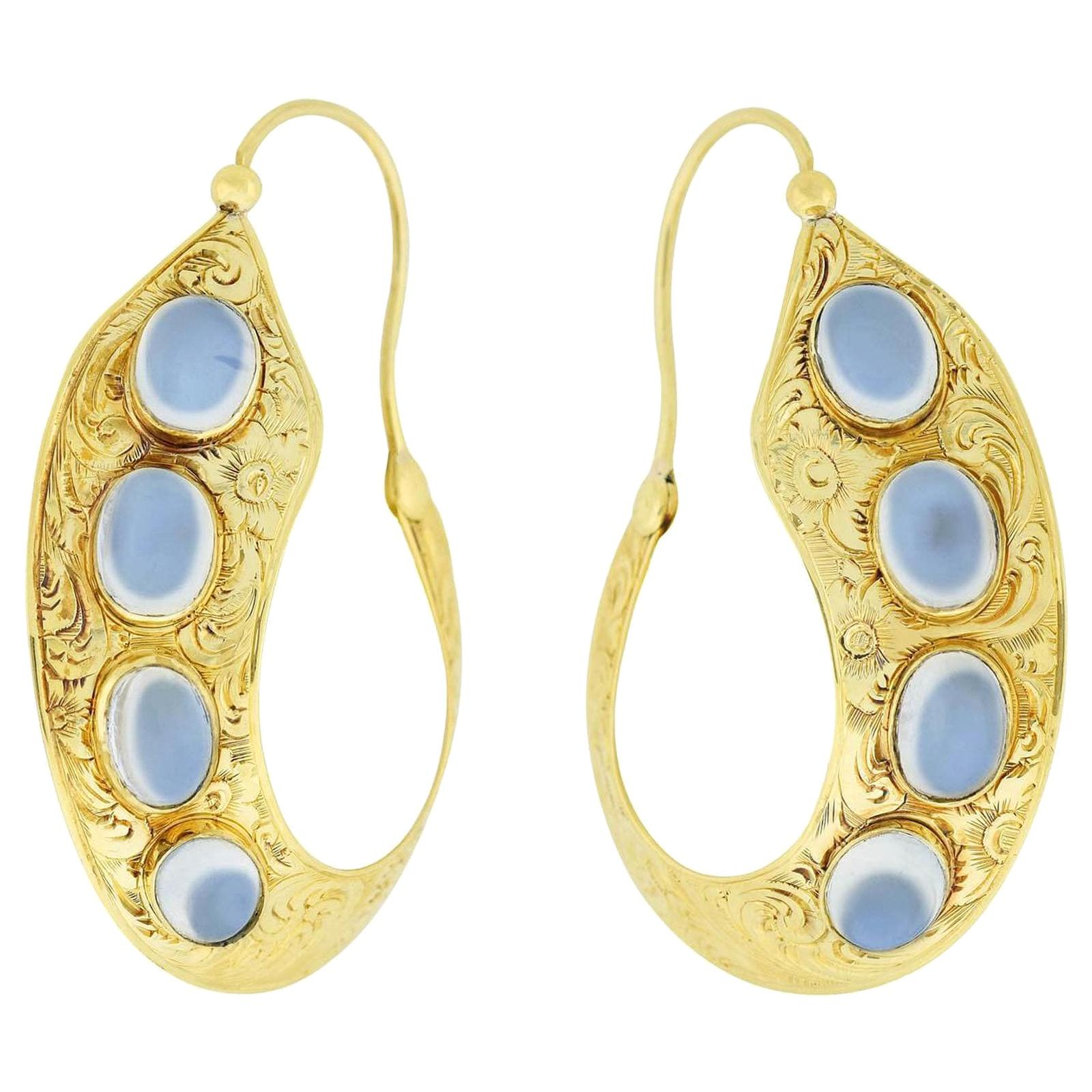 Victorian 18 Karat Moonstone Etched Left Right Hoop Earrings