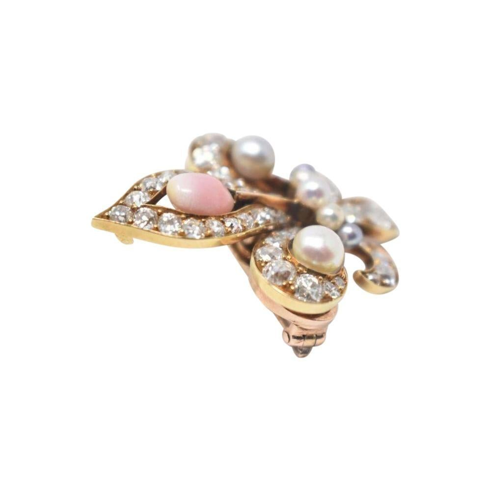 Victorian 18 Karat Natural Conch Pearl Fleur De Lis Diamond Brooch