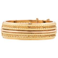 Victorian 18 Karat Rose and Yellow Gold Flexible Bangle Bracelet
