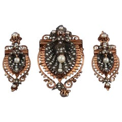 Rose Gold and Silver Antique Earrings and Brooch