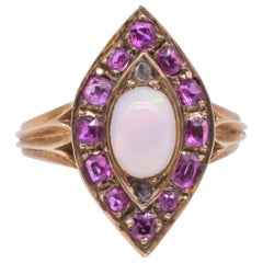Victorian Marquis Shaped 18 Karat Ruby and Rose Diamond Ring with Opal Center