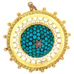 Victorian 18 Karat Turquoise Diamond Pendant