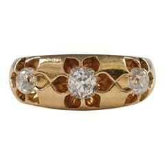 Victorian 18 Karat Yellow Gold 0.76 Carat 3-Stone Diamond Gypsy Ring, 1884