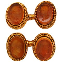 Victorian 18 Karat Yellow Gold and Carved Citrine Cufflinks