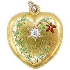Victorian 18 Karat Yellow Gold and Old European Cut Diamond Enamel Heart Locket