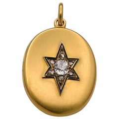 Victorian 18 Karat Yellow Gold and Old Mine Cut Diamond Locket